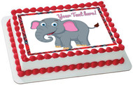 Happy Elephant - Edible Cake Topper OR Cupcake Topper, Decor