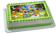 POKEMON FOREST Edible Birthday Cake Topper OR Cupcake Topper, Decor