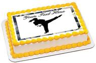 Karate Girl - Edible Cake Topper OR Cupcake Topper, Decor