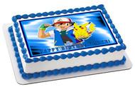 POKEMON PIKACHU Edible Birthday Cake Topper OR Cupcake Topper, Decor
