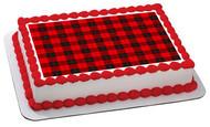 Buffalo Plaid - Edible Cake Topper OR Cupcake Topper, Decor