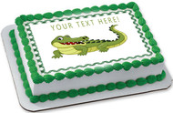 Crocodile - Edible Cake Topper OR Cupcake Topper, Decor