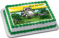 Happy Raccoon - Edible Cake Topper OR Cupcake Topper, Decor