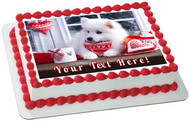 Valentine Puppy Dog - Edible Cake Topper OR Cupcake Topper, Decor