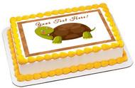 Cute Turtle - Edible Cake Topper OR Cupcake Topper, Decor
