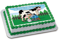 Happy cow illustration while the farmer milking - Edible Cake Topper OR Cupcake Topper, Decor