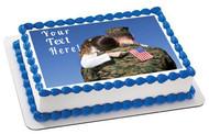 Military Man Hugs His Child - Edible Cake Topper OR Cupcake Topper, Decor