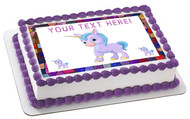 Cute Baby Unicorn - Edible Cake Topper OR Cupcake Topper, Decor