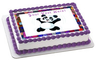 Jumping Happy Panda - Edible Cake Topper OR Cupcake Topper, Decor
