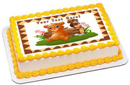 Baby Brown Bear with Squirrel - Edible Cake Topper OR Cupcake Topper, Decor