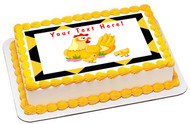 Mother Hen with its Baby Chicks - Edible Cake Topper OR Cupcake Topper, Decor