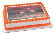 Pink Flamingo (Nr2) - Edible Cake Topper OR Cupcake Topper, Decor
