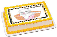 White Fluffy Dog - Edible Cake Topper OR Cupcake Topper, Decor
