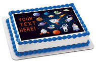 Cartoon Space Elements - Edible Cake Topper OR Cupcake Topper, Decor
