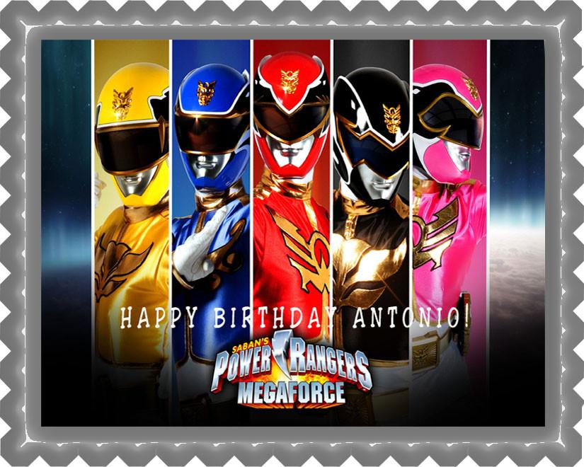 Cool Power Rangers Megaforce Edible Birthday Cake Topper Birthday Cards Printable Trancafe Filternl