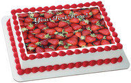 Strawberry - Edible Cake Topper OR Cupcake Topper, Decor