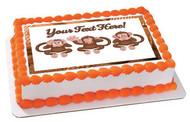 The Monkeys Faces - Edible Cake Topper OR Cupcake Topper, Decor