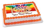 Paint Palette - Edible Cake Topper OR Cupcake Topper, Decor