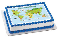 Animal world map - Edible Cake Topper OR Cupcake Topper, Decor