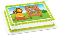 Cute Lion Cartoon with Wooden Sign - Edible Cake Topper OR Cupcake Topper, Decor