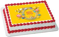 Happy Easter - Edible Cake Topper OR Cupcake Topper, Decor