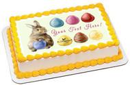 Easter Rabbit and Eggs - Edible Cake Topper OR Cupcake Topper, Decor