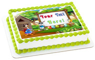 Happy Easter with Wooden Sign - Edible Cake Topper OR Cupcake Topper, Decor