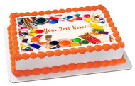 Paints Brushes and Palette - Edible Cake Topper OR Cupcake Topper, Decor