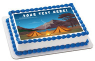 Camping in Night Time Family Camping Tent and Fire - Edible Cake Topper OR Cupcake Topper, Decor