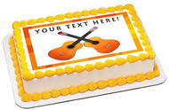 Two Guitars Crossed - Edible Cake Topper OR Cupcake Topper, Decor