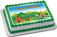 Tents and a Smiling Horse - Edible Cake Topper OR Cupcake Topper, Decor