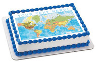 Detailed World Map - Edible Cake Topper OR Cupcake Topper, Decor
