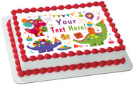 Cute Dinosaurs Birthday - Edible Cake Topper OR Cupcake Topper, Decor