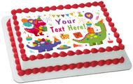 Cute Dinosaurs Birthday - Edible Cake Topper OR Cupcake Topper, Decor