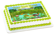 Duck Pond Near the Forest and Mountain - Edible Cake Topper OR Cupcake Topper, Decor