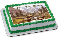 Grizzly Bear in the Rocky Mountains - Edible Cake Topper OR Cupcake Topper, Decor
