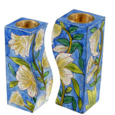 "Emanuel White Lilies ""Fitted"" Candlesticks"