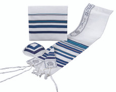 B'nai Or Blue Striped Tallis Set
