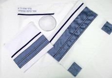 Ein Hod Slate Blue and Silver Tallit Set