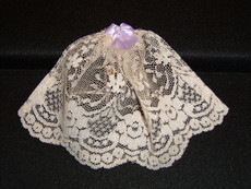 Small Ivory Lace Headcovering With Bow and Pearl