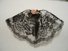 Black Lace Headcovering with Rose