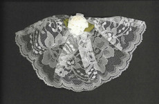 White Lace Headcovering With Carnation
