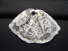 Small White Lace Headcovering With Mini Rose