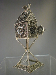 Sterliing Silver Bird House Spice Box