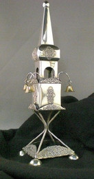 Sterling Silver Tower Spice Box with Bells