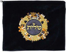 Navy Velvet Tallis Bag - Jerusalem Design in Gold