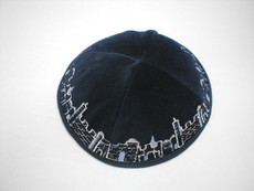 Velvet Jerusalem Outline Kippah - Navy