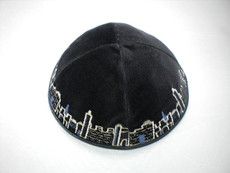Velvet Jerusalem Outline Kippah - Black mcvj5