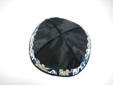 Satin Detailed Jerusalem Kippah - Black
