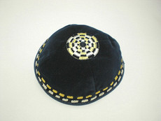Velvet Agam Blocks Kippah - Navy